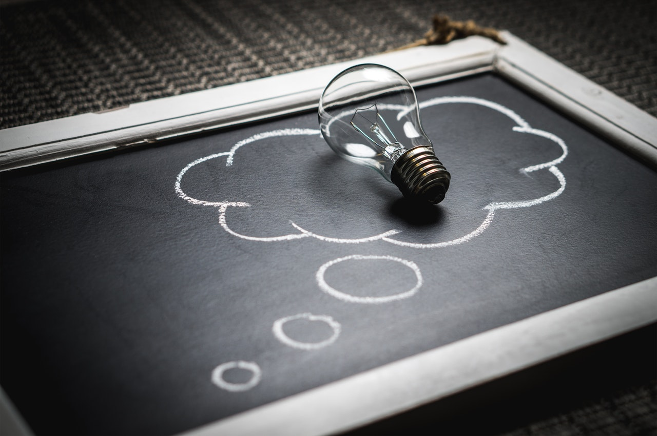 Idea: Photo of lightbulb in chalk outline of think bubble on chalkboard.