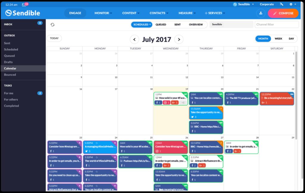 Sendible Content Calendar View