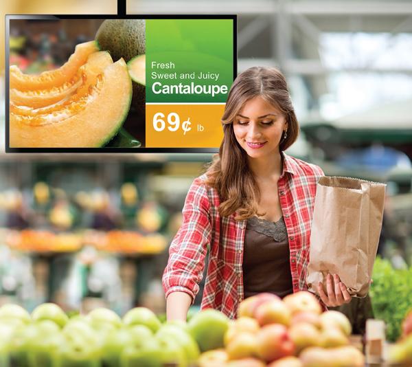 shopper, produce, digital monitor