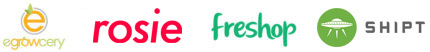 Logos: Egrowcery, Rosie, Freshop, Shipt