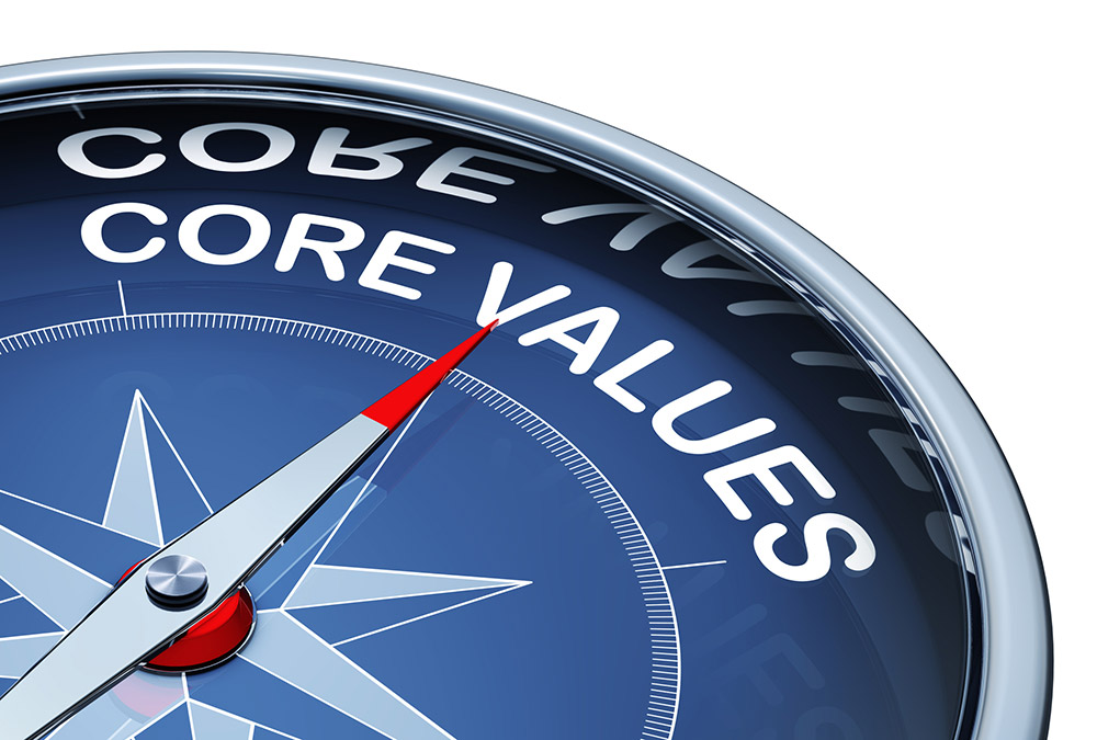 Compass with needle pointing to core values
