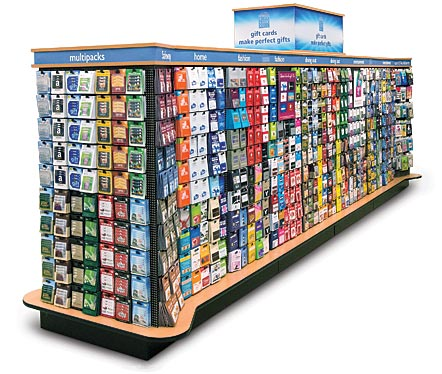 To show large format gift card display