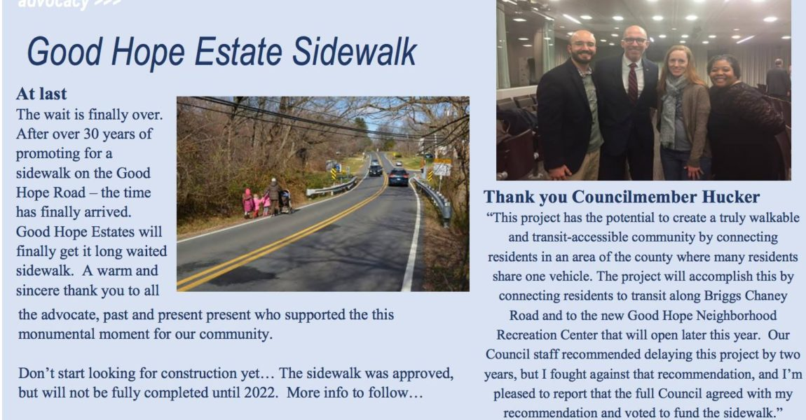 Hucker Helps Good Hope Estates Finally Get Sidewalk