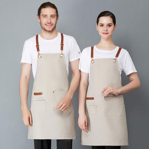 CITY FOCUS 帆布全皮帶金屬掛扣肩帶款圍裙(4色選擇)