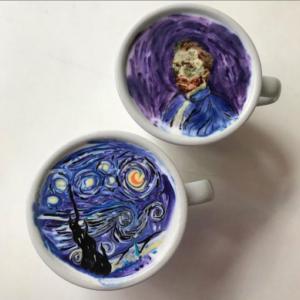 Vincent van Gogh's The Starry Night as a latte. Via Instagram @leekangbin91.