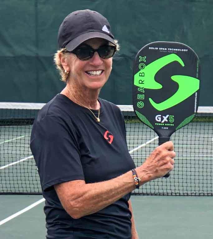 Brenda Loube with a G5X paddleball paddle
