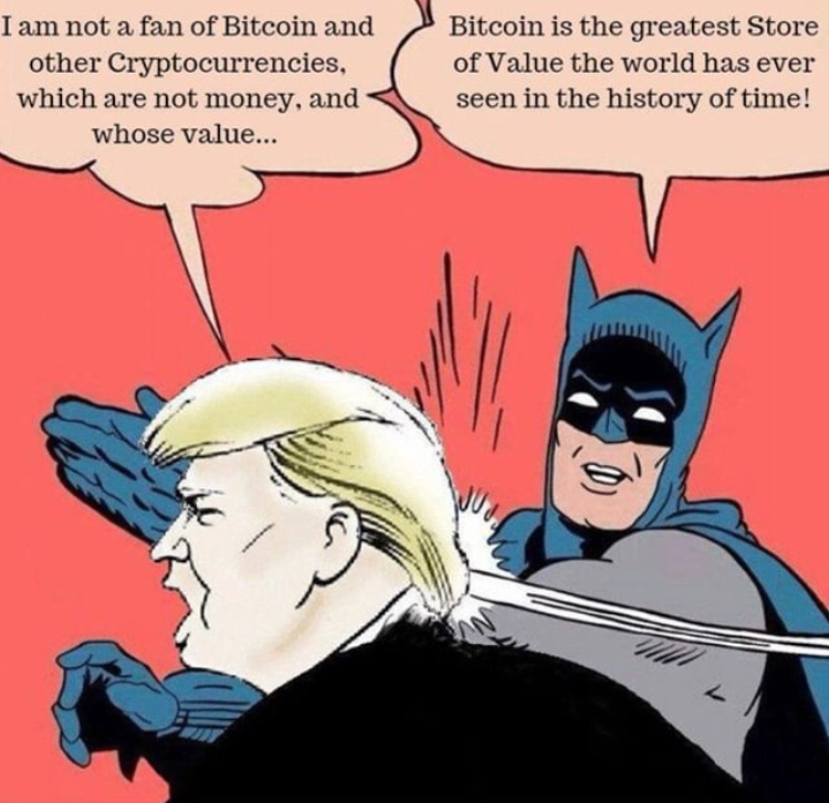 Batman slaps Trump for dissing Bitcoin and crypto
