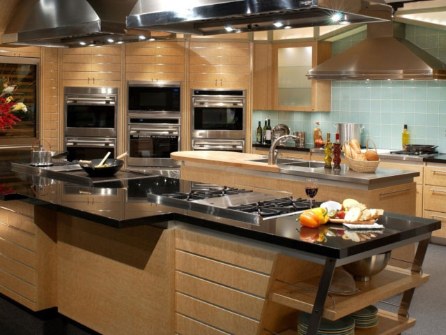 modern kitchen with blue tile
