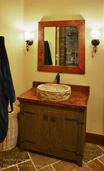 single bathroom cabinet with stone sink