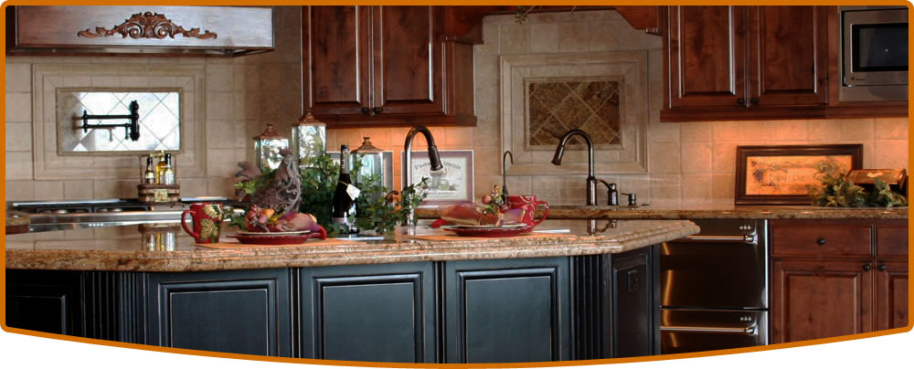 kitchen with dual tone cabinets