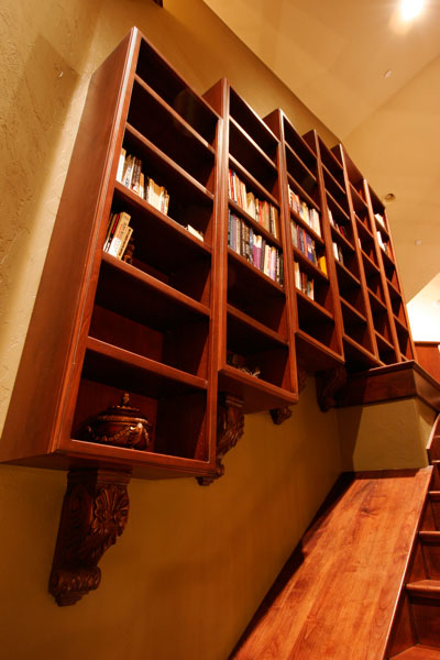 shelves over stairs