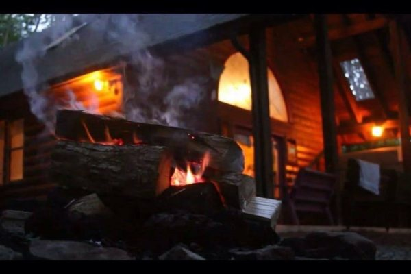 New River Gorge Cabins fire view