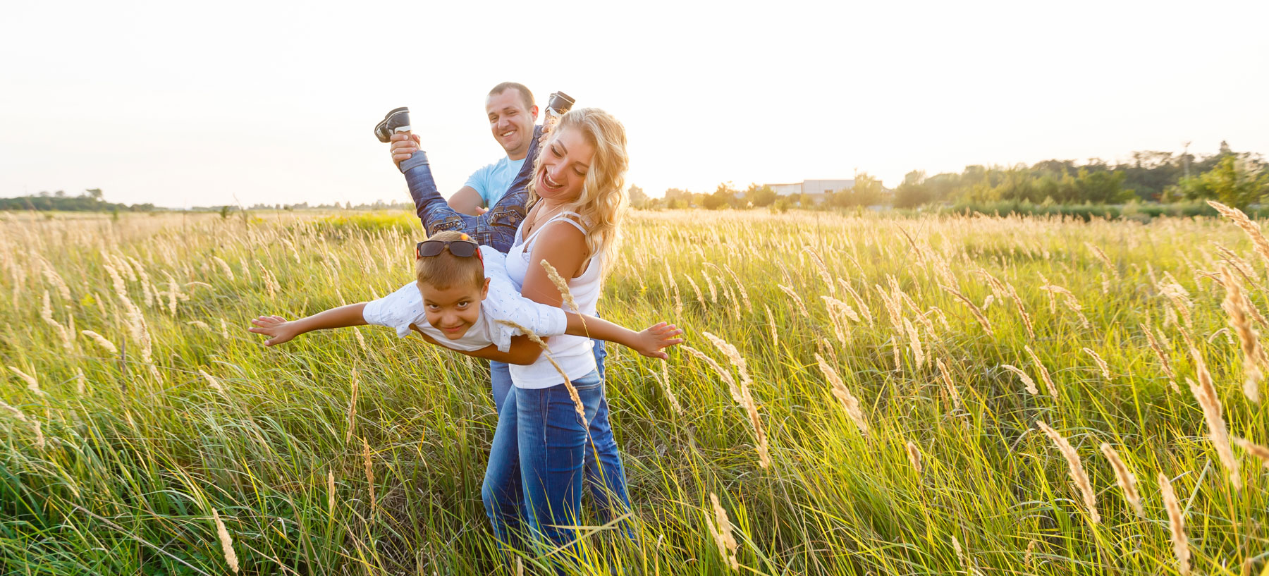 family in countryside field