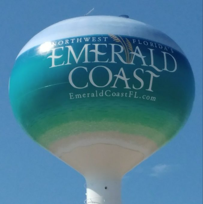 Stock image of the Emerald Coast Water Tower in Fort Walton Beach, FL