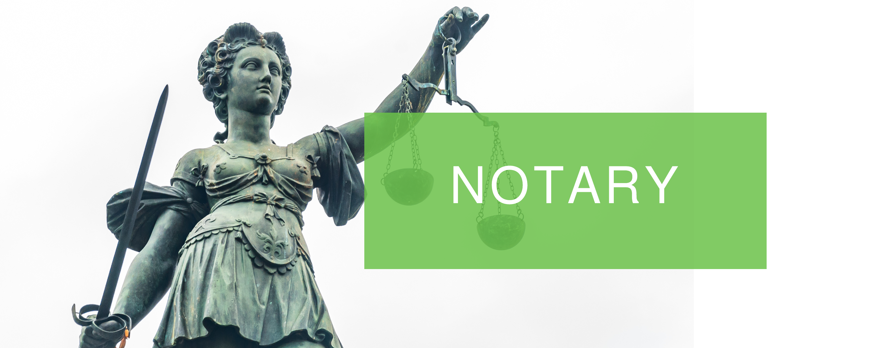 Notary service written with legal statue