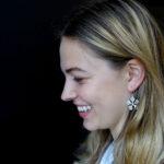 Flower Earrings Matte Sterling Silver-model