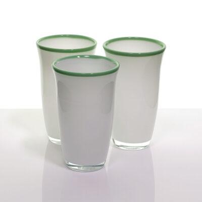 italian-cased-glass-white-tumblers-green-rim