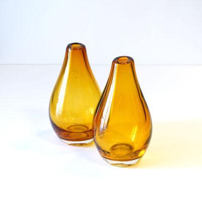 amber-teardrop-blown-glass-vases-pair