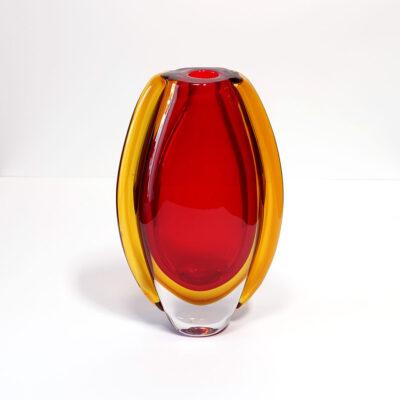 red-orange-blown-glass-bud-vase