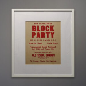 red-block-party-white-frame-sold