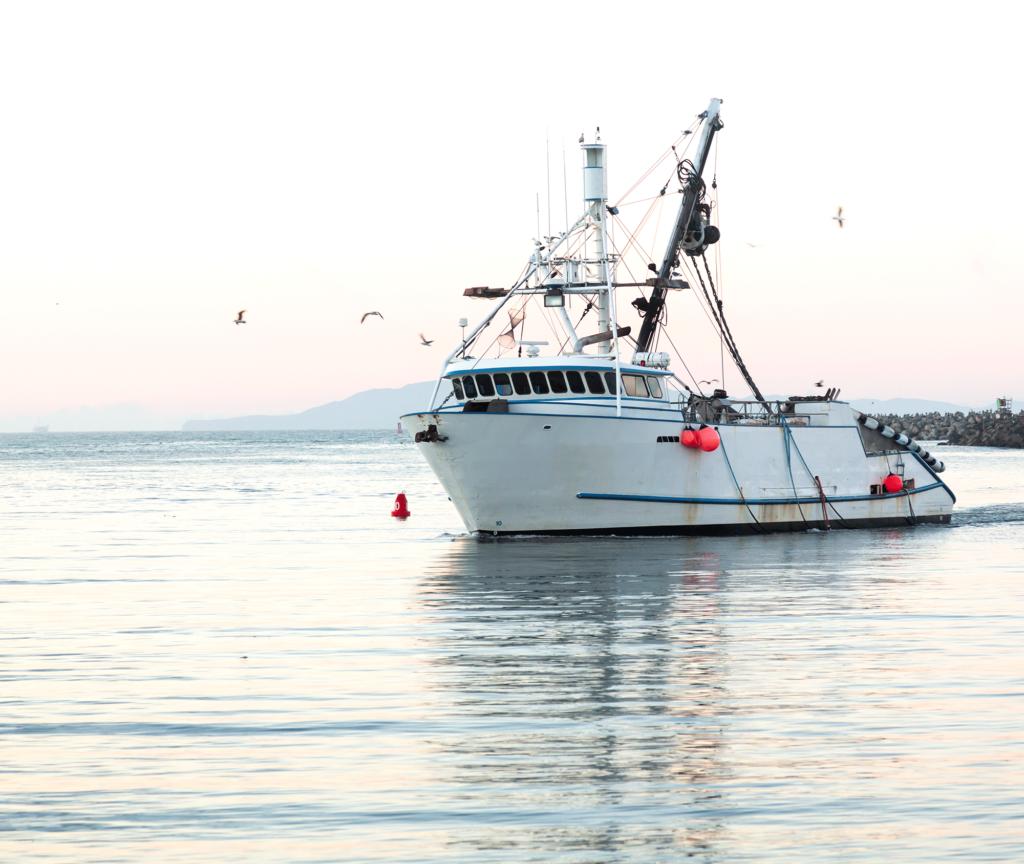 A fishing boat sailing away from shore
