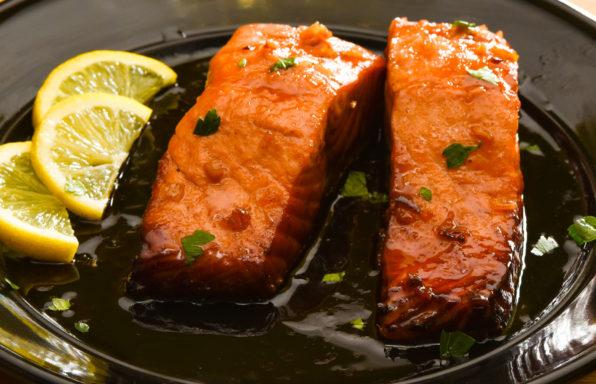 Plated shot of honey-glazed salmon