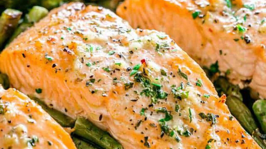 Plated shot of garlic butter baked salmon