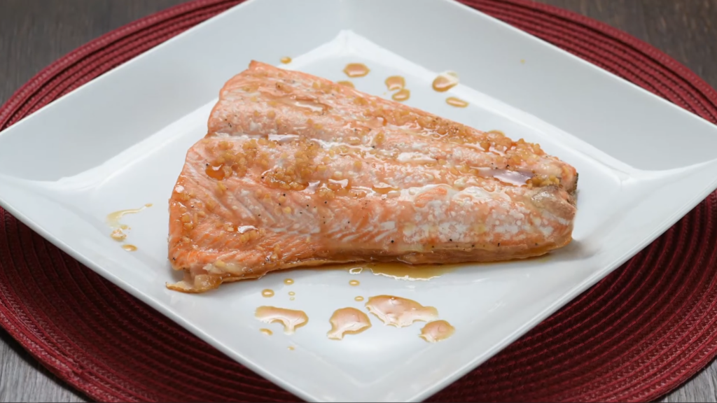 Plated shot of maple salmon
