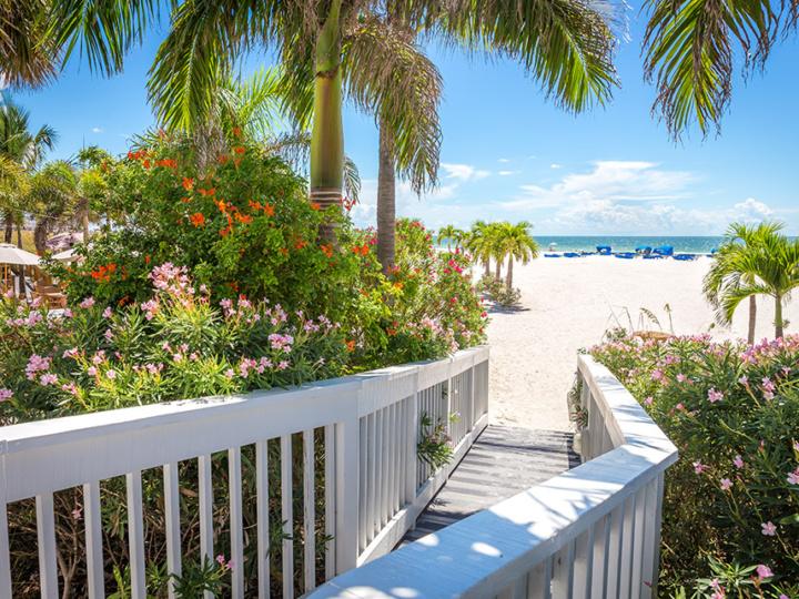 Boardwalk to a beach in St. Pete, Florida