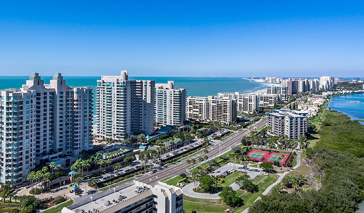 Clearwater Beach Florida skyline from the air