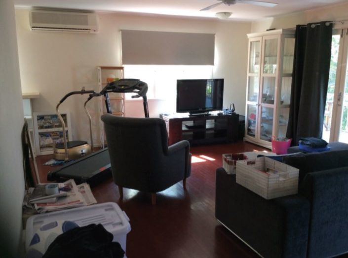 Furnishings and stored goods restricts inspection to interior