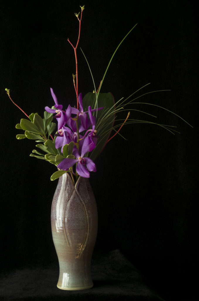 Purple Orchids in a Purple Vase