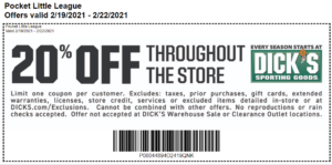 20% off Coupon at Dick's Sporting Goods