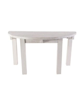 "60"" Whitewashed Half Moon Table"