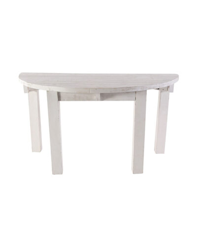 """60"""" Whitewashed Half Moon Table"""