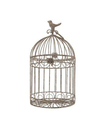 """9"""" Beige Rustic Metal Bird Cage"""