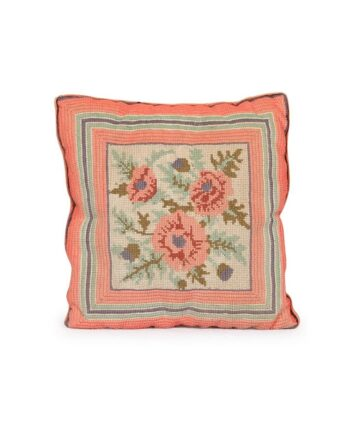 Pink Rose Needlepoint Pillow