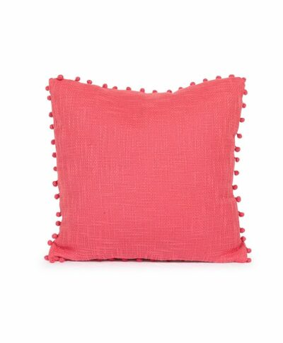 Rosy Pink Pillow with Pom Pom Balls