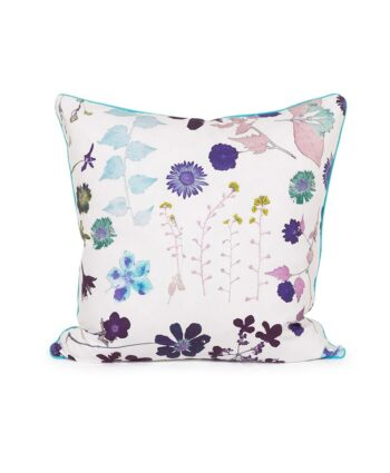White Background Floral Pillow