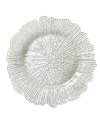 White Sea Sponge Glass Charger