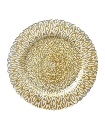 Gold & White Petal Charger
