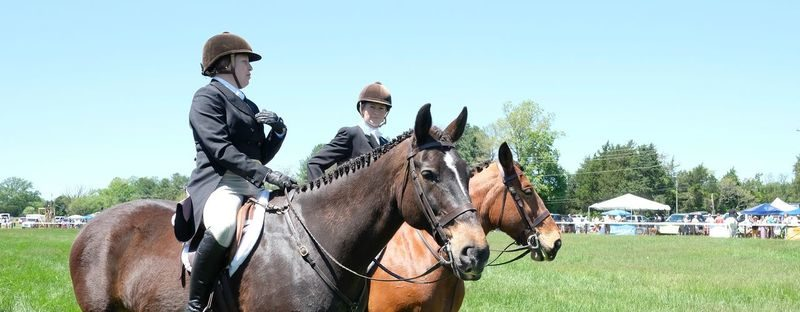 Two horses with riders standing next to one another at Foxfield