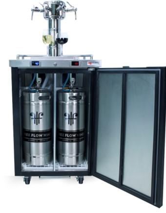 Steel wine kegs in mobile bar