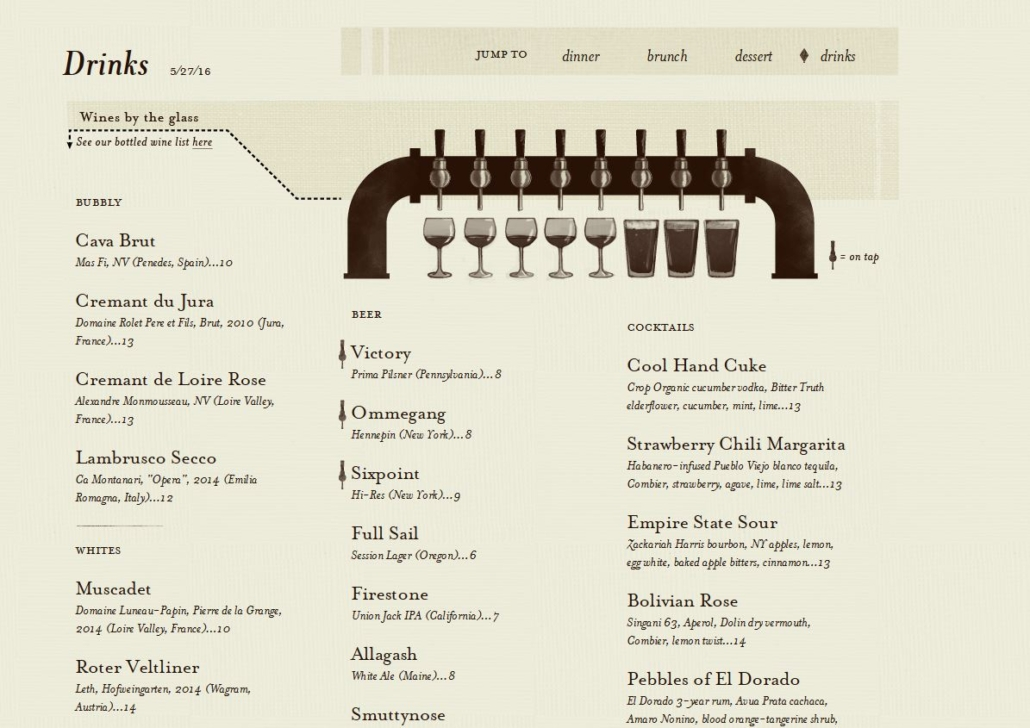 Example of how to advertise wine on tap on a menu