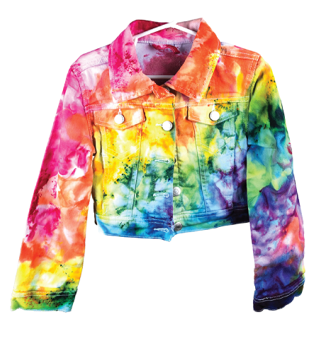 kids size jacket dyed in a diagonal rainbow