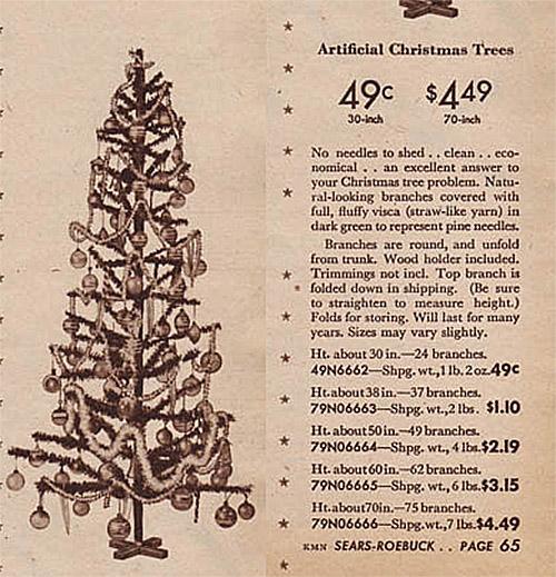 1945 Sears Catalog Artificial Christmas Tree