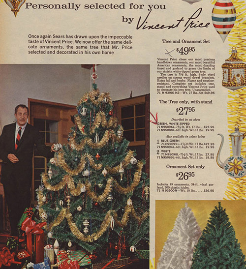 1964 Sears Catalog Artificial Christmas Tree Vincent Price