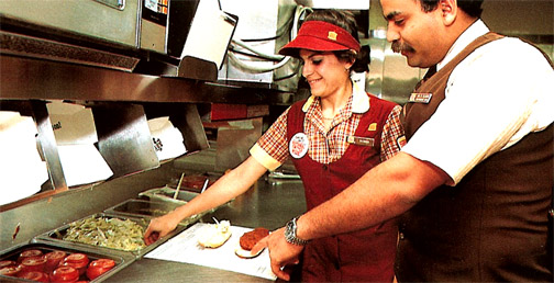 Making a chicken sandwich at Burger King in the 1980s
