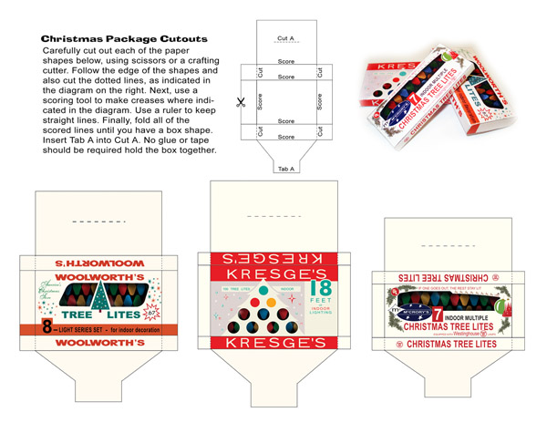 papercraft, paper cutout, christmas, lights, woolworth, kresge's, mccrory's, five and ten cent