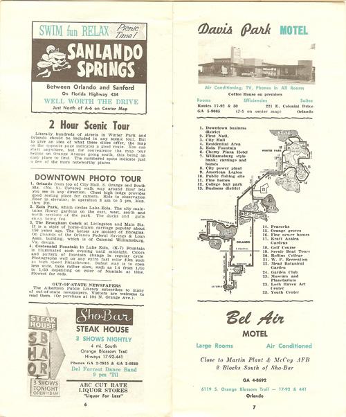 Orlando in the 1960s sanlando springs sho-bar steak house